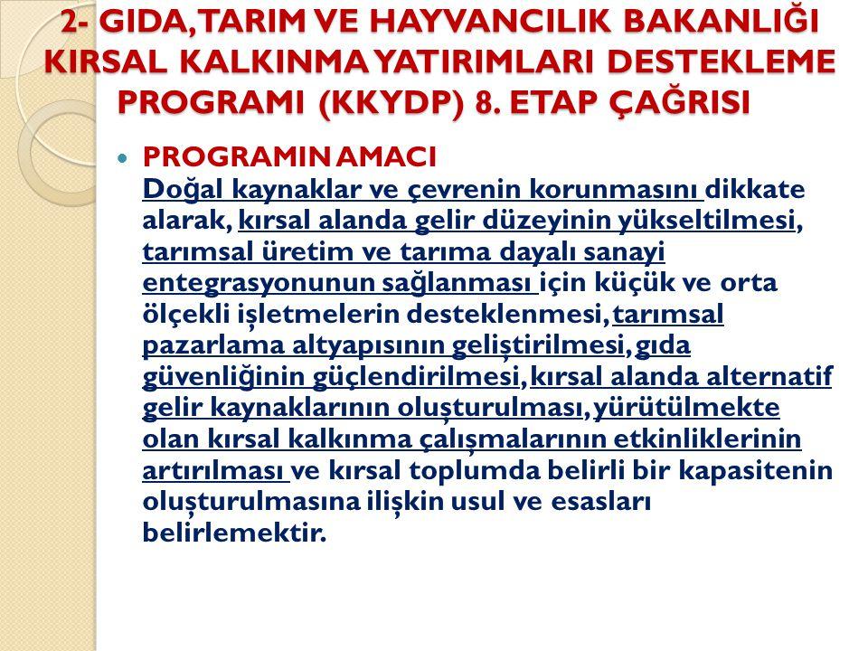 2- GIDA,TARIM VE HAYVANCILIK BAKANLI Ğ I KIRSAL KALKINMA YATIRIMLARI DESTEKLEME PROGRAMI (KKYDP) 8.