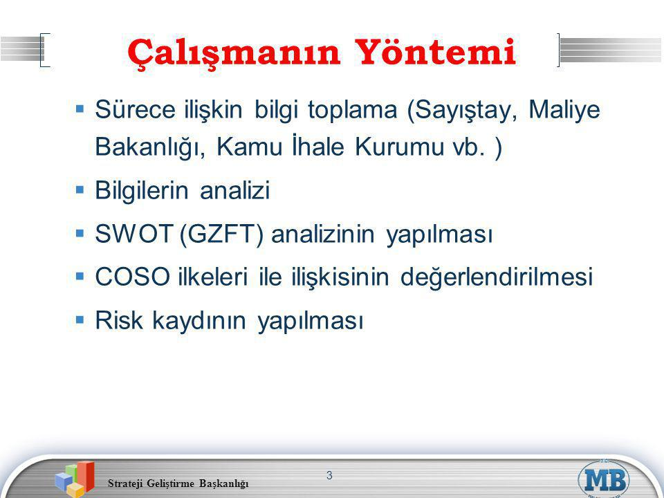 Strateji Geliştirme Başkanlığı 3  Sürece ilişkin bilgi toplama (Sayıştay, Maliye Bakanlığı, Kamu İhale Kurumu vb. )  Bilgilerin analizi  SWOT (GZFT