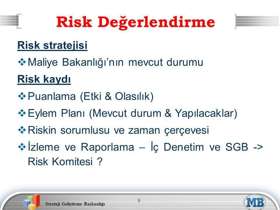 Strateji Geliştirme Başkanlığı 9 Risk stratejisi  Maliye Bakanlığı'nın mevcut durumu Risk kaydı  Puanlama (Etki & Olasılık)  Eylem Planı (Mevcut durum & Yapılacaklar)  Riskin sorumlusu ve zaman çerçevesi  İzleme ve Raporlama – İç Denetim ve SGB -> Risk Komitesi .