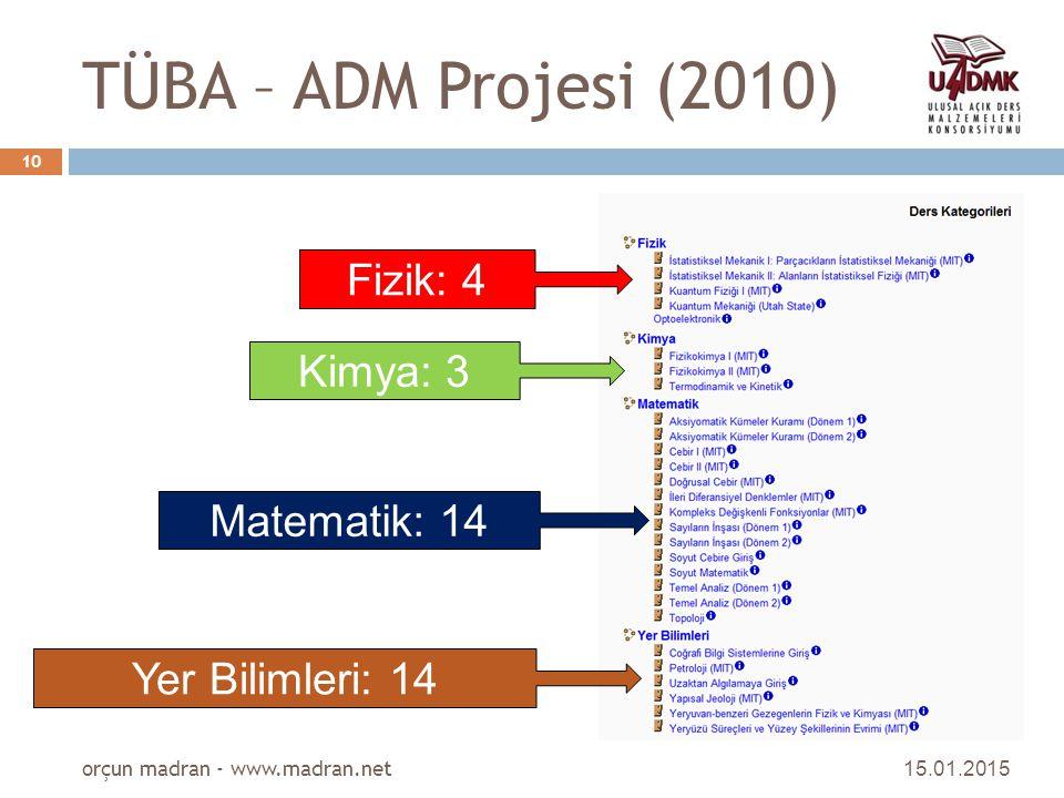 TÜBA – ADM Projesi (2010) 15.01.2015 orçun madran - www.madran.net 10 Fizik: 4 Kimya: 3 Matematik: 14 Yer Bilimleri: 14