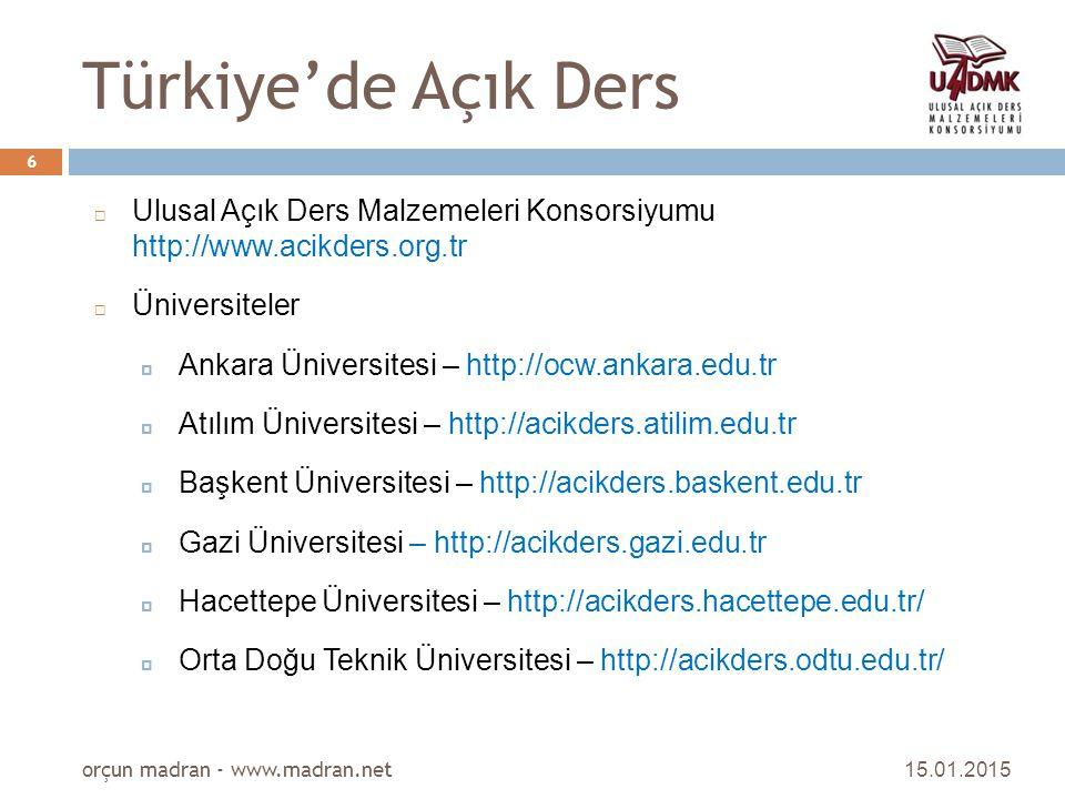 Türkiye'de Açık Ders  Ulusal Açık Ders Malzemeleri Konsorsiyumu http://www.acikders.org.tr  Üniversiteler  Ankara Üniversitesi – http://ocw.ankara.