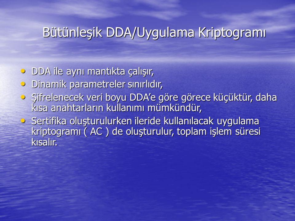 Bütünleşik DDA/Uygulama Kriptogramı Bütünleşik DDA/Uygulama Kriptogramı DDA ile aynı mantıkta çalışır, DDA ile aynı mantıkta çalışır, Dinamik parametreler sınırlıdır, Dinamik parametreler sınırlıdır, Şifrelenecek veri boyu DDA'e göre görece küçüktür, daha kısa anahtarların kullanımı mümkündür, Şifrelenecek veri boyu DDA'e göre görece küçüktür, daha kısa anahtarların kullanımı mümkündür, Sertifika oluşturulurken ileride kullanılacak uygulama kriptogramı ( AC ) de oluşturulur, toplam işlem süresi kısalır.