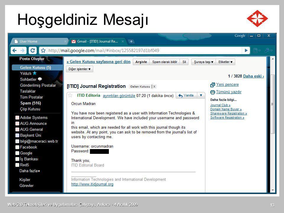 Hoşgeldiniz Mesajı Web 2.0 Teknolojileri ve Uygulamaları Çalıştayı, Ankara - 4 Aralık 2009 13