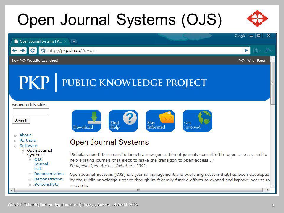 Open Journal Systems (OJS) Web 2.0 Teknolojileri ve Uygulamaları Çalıştayı, Ankara - 4 Aralık 2009 2