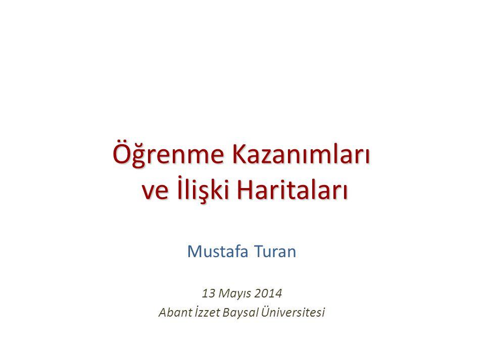 Öğrenme Kazanımları ve İlişki Haritaları Öğrenme Kazanımları ve İlişki Haritaları Mustafa Turan 13 Mayıs 2014 Abant İzzet Baysal Üniversitesi