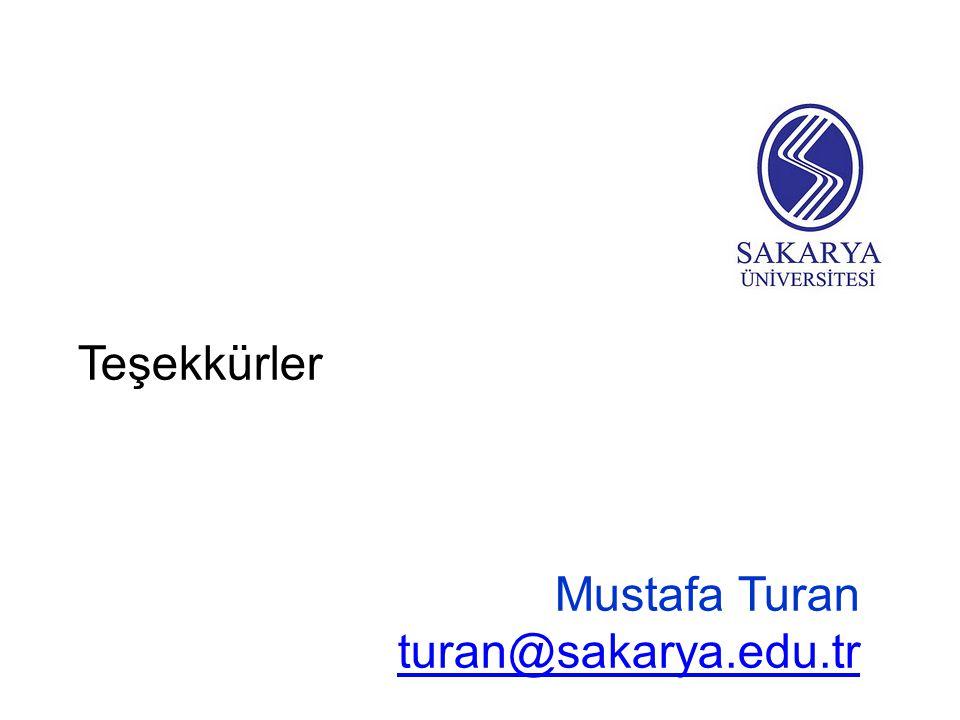 Teşekkürler Mustafa Turan turan@sakarya.edu.tr