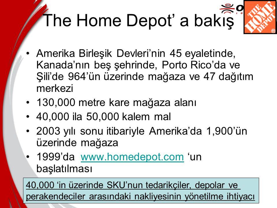 The Home Depot' a bakış Amerika Birleşik Devleri'nin 45 eyaletinde, Kanada'nın beş şehrinde, Porto Rico'da ve Şili'de 964'ün üzerinde mağaza ve 47 dağ