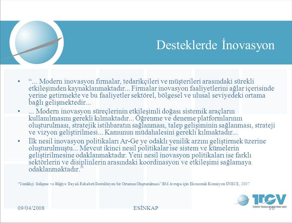 """09/04/2008ESİNKAP10 Desteklerde İnovasyon """"... Modern inovasyon firmalar, tedarikçileri ve müşterileri arasındaki sürekli etkileşimden kaynaklanmaktad"""