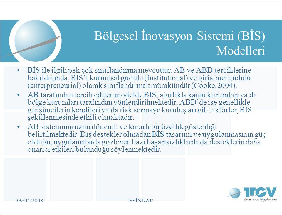 09/04/2008ESİNKAP17 Bölgesel İnovasyon Sistemi (BİS) Modelleri BİS ile ilgili pek çok sınıflandırma mevcuttur. AB ve ABD tercihlerine bakıldığında, Bİ