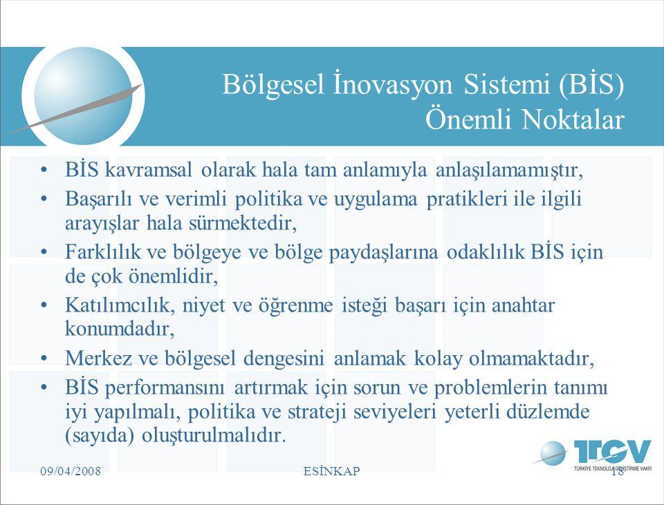 09/04/2008ESİNKAP18 Bölgesel İnovasyon Sistemi (BİS) Önemli Noktalar BİS kavramsal olarak hala tam anlamıyla anlaşılamamıştır, Başarılı ve verimli pol