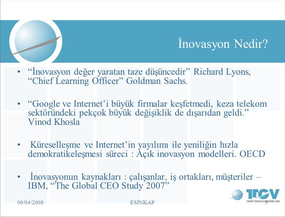 """09/04/2008ESİNKAP5 İnovasyon Nedir? """"İnovasyon değer yaratan taze düşüncedir"""" Richard Lyons, """"Chief Learning Officer"""" Goldman Sachs. """"Google ve Intern"""