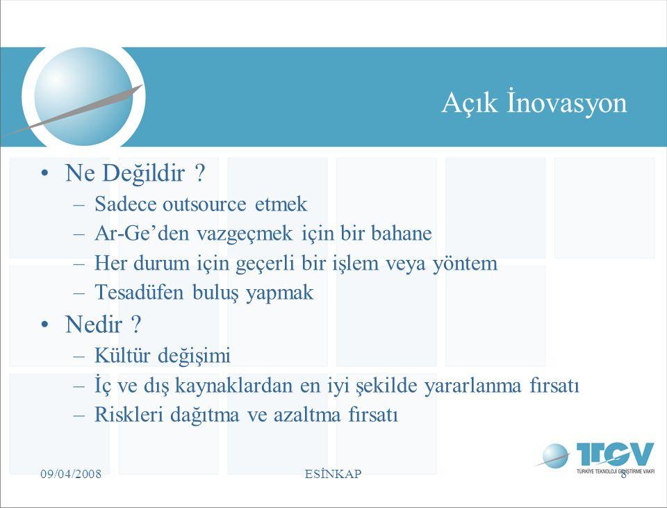 09/04/2008ESİNKAP8 Açık İnovasyon Ne Değildir ? –Sadece outsource etmek –Ar-Ge'den vazgeçmek için bir bahane –Her durum için geçerli bir işlem veya yö