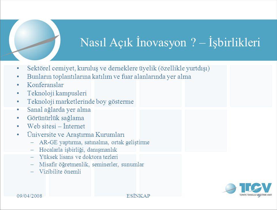 09/04/2008ESİNKAP9 Nasıl Açık İnovasyon ? – İşbirlikleri Sektörel cemiyet, kuruluş ve derneklere üyelik (özellikle yurtdışı) Bunların toplantılarına k