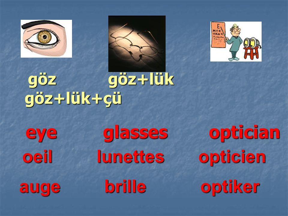 göz göz+lük göz+lük+çü eye glasses optician oeil lunettes opticien a uge brille optiker