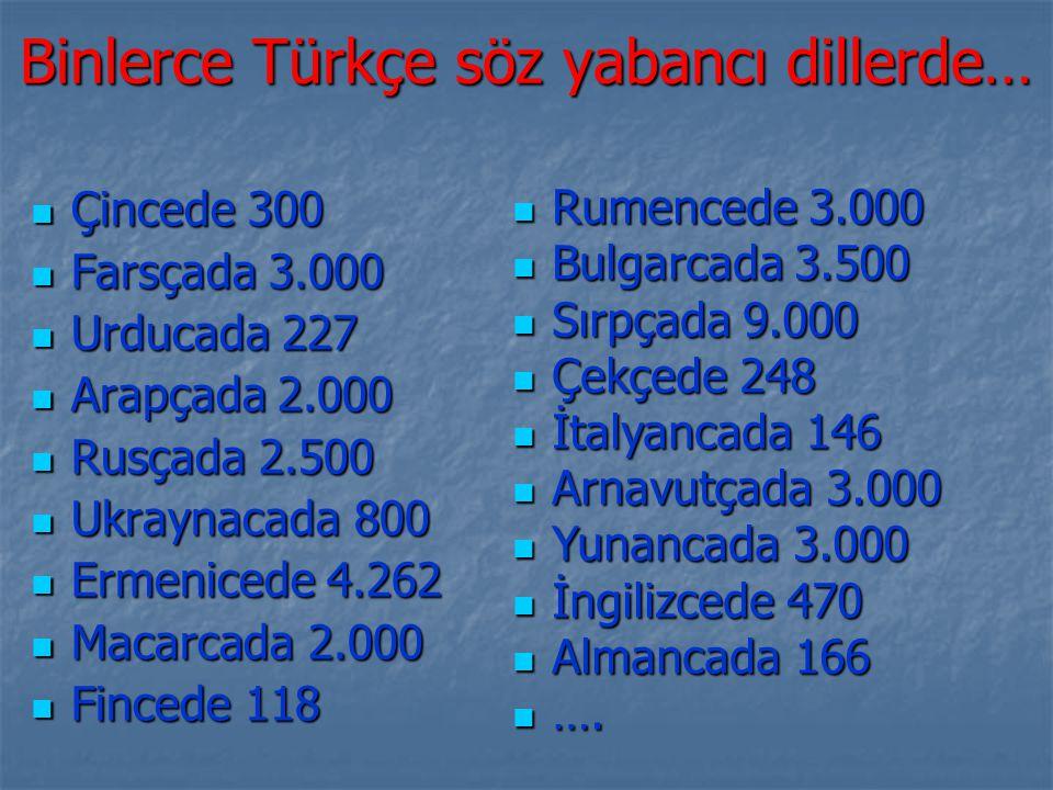 Binlerce Türkçe söz yabancı dillerde… Çincede 300 Farsçada 3.000 Urducada 227 Arapçada 2.000 Rusçada 2.500 Ukraynacada 800 Ermenicede 4.262 Macarcada 2.000 Fincede 118 Rumencede 3.000 Bulgarcada 3.500 Sırpçada 9.000 Çekçede 248 İtalyancada 146 Arnavutçada 3.000 Yunancada 3.000 İngilizcede 470 Almancada 166 ….