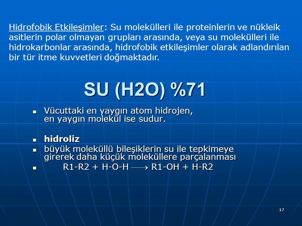 17 Hidrofobik Etkileşimler: Su molekülleri ile proteinlerin ve nükleik asitlerin polar olmayan grupları arasında, veya su molekülleri ile hidrokarbonl