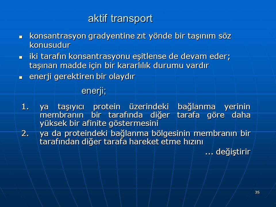 35 aktif transport konsantrasyon gradyentine zıt yönde bir taşınım söz konusudur konsantrasyon gradyentine zıt yönde bir taşınım söz konusudur iki tar