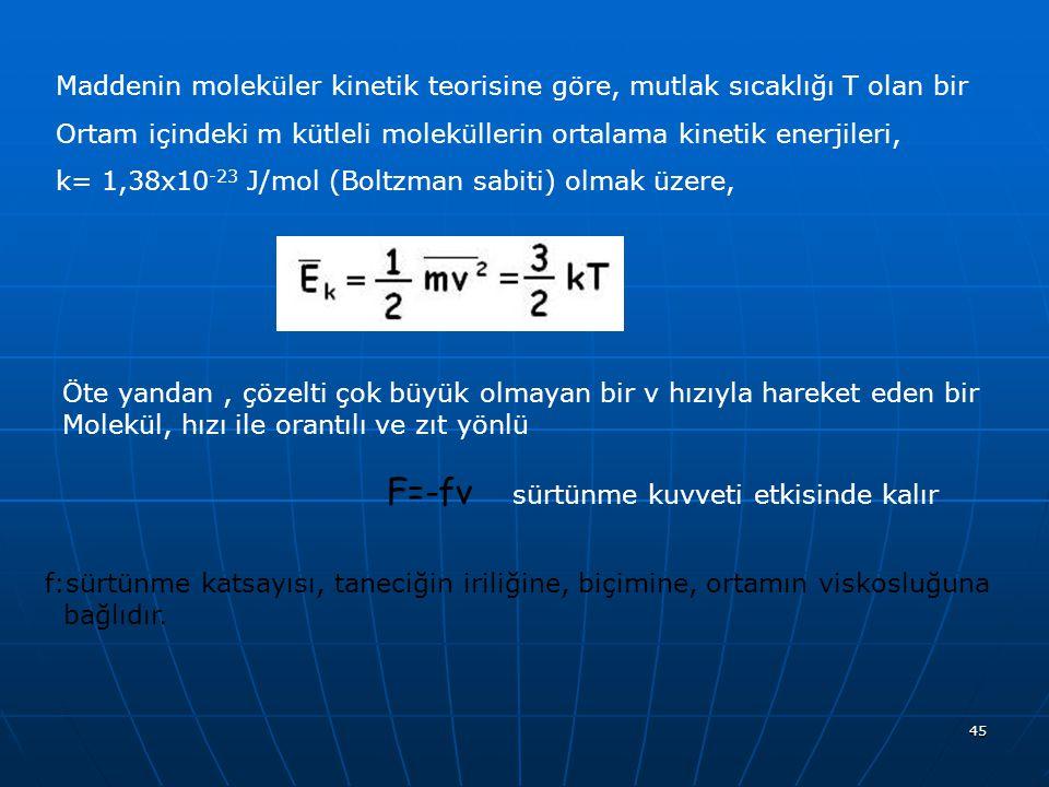 45 Maddenin moleküler kinetik teorisine göre, mutlak sıcaklığı T olan bir Ortam içindeki m kütleli moleküllerin ortalama kinetik enerjileri, k= 1,38x1