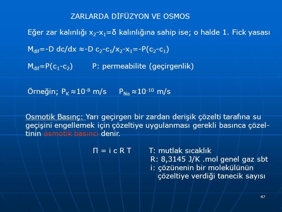 47 ZARLARDA DİFÜZYON VE OSMOS Eğer zar kalınlığı x 2 -x 1 =δ kalınlığına sahip ise; o halde 1. Fick yasası M dif =-D dc/dx ≈-D c 2 -c 1 /x 2 -x 1 =-P(