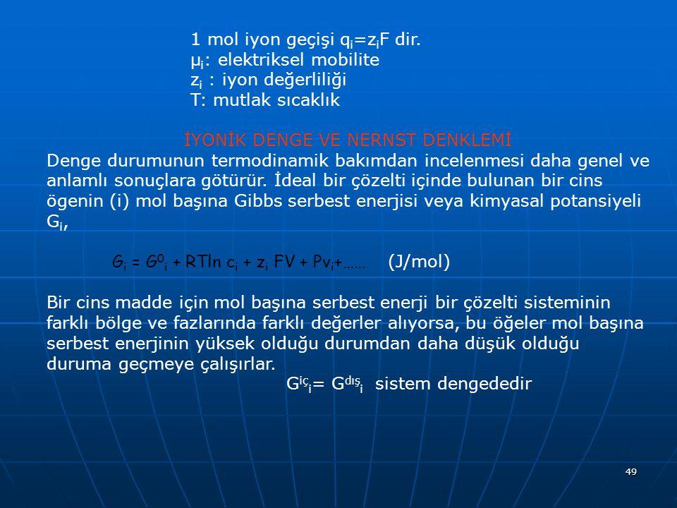 49 1 mol iyon geçişi q i =z i F dir. μ i : elektriksel mobilite z i : iyon değerliliği T: mutlak sıcaklık İYONİK DENGE VE NERNST DENKLEMİ Denge durumu