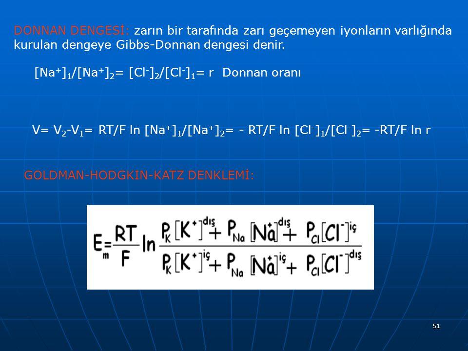 51 DONNAN DENGESİ: zarın bir tarafında zarı geçemeyen iyonların varlığında kurulan dengeye Gibbs-Donnan dengesi denir. [Na + ] 1 /[Na + ] 2 = [Cl - ]