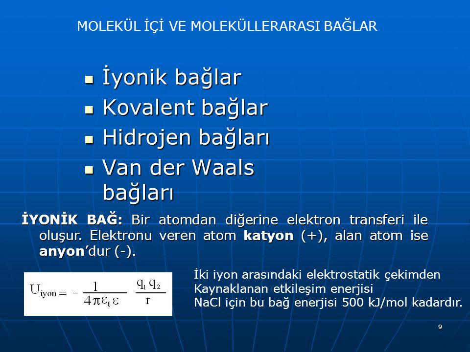 9 MOLEKÜL İÇİ VE MOLEKÜLLERARASI BAĞLAR İyonik bağlar İyonik bağlar Kovalent bağlar Kovalent bağlar Hidrojen bağları Hidrojen bağları Van der Waals ba