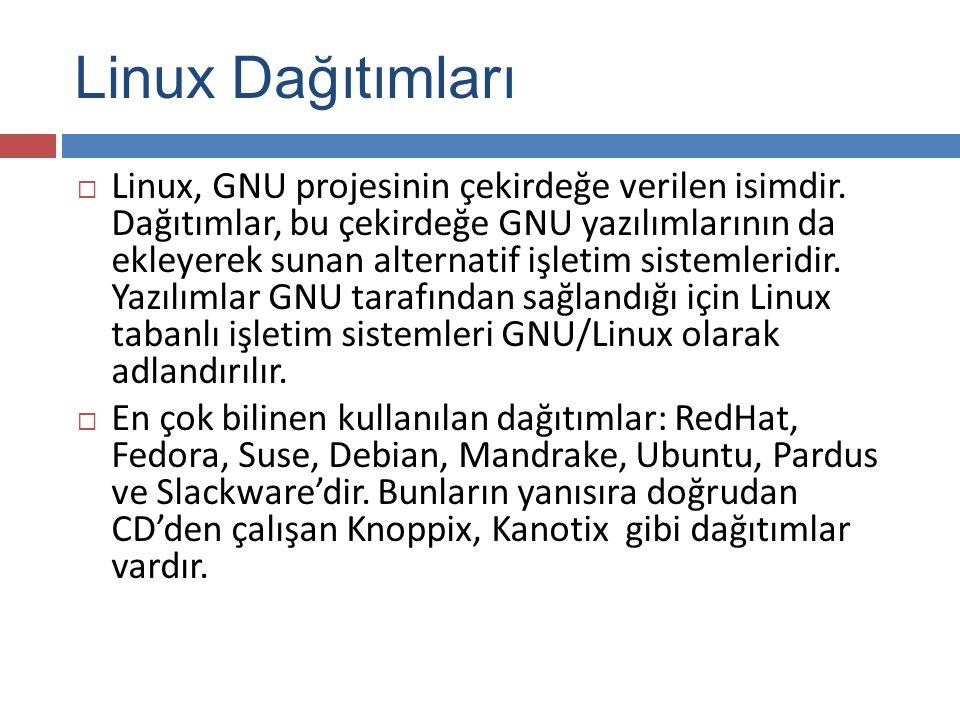 Linux Dağıtımları  Linux, GNU projesinin çekirdeğe verilen isimdir.