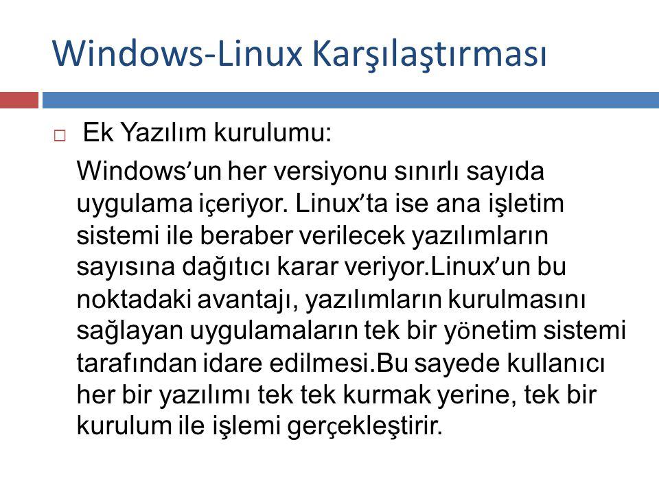 Windows-Linux Karşılaştırması  Ek Yazılım kurulumu: Windows ' un her versiyonu sınırlı sayıda uygulama i ç eriyor.
