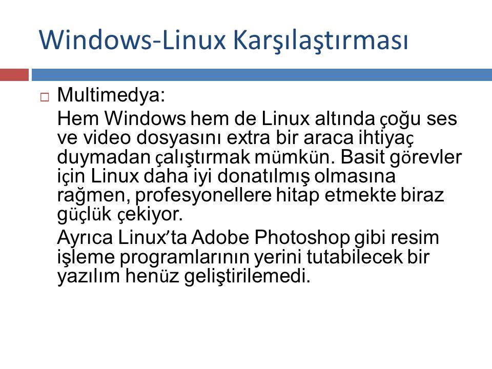 Windows-Linux Karşılaştırması  Multimedya: Hem Windows hem de Linux altında ç oğu ses ve video dosyasını extra bir araca ihtiya ç duymadan ç alıştırmak m ü mk ü n.