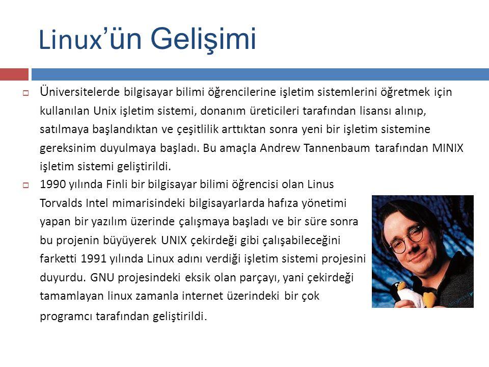 Linux 'ün Gelişimi  Ü niversitelerde bilgisayar bilimi öğrencilerine işletim sistemlerini öğretmek için kullanılan Unix işletim sistemi, donanım üreticileri tarafından lisansı alınıp, satılmaya başlandıktan ve çeşitlilik arttıktan sonra yeni bir işletim sistemine gereksinim duyulmaya başladı.