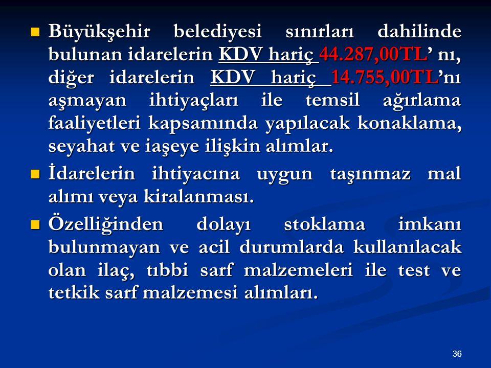 36 Büyükşehir belediyesi sınırları dahilinde bulunan idarelerin KDV hariç 44.287,00TL' nı, diğer idarelerin KDV hariç 14.755,00TL'nı aşmayan ihtiyaçla