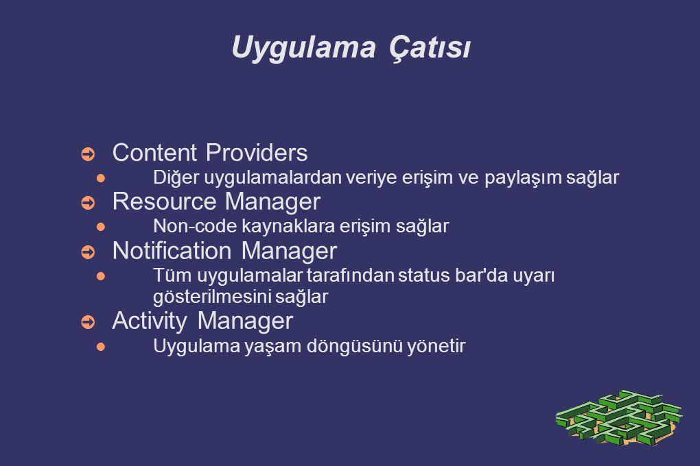 Proje Yapısı ➲ src: paketler ve Java kodları ➲ gen: R.java bulunur.
