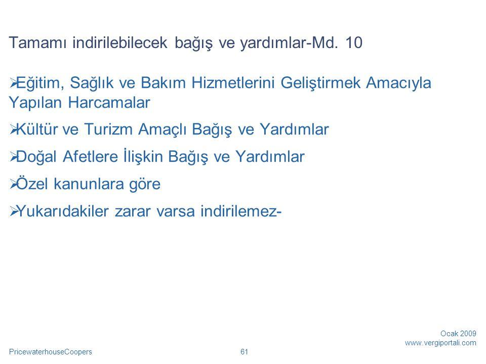 PricewaterhouseCoopers Ocak 2009 www.vergiportali.com 62 Özel kanunlar  Atatürk Kültür, Dil ve Tarih Yüksek Kurumu  Sosyal Y.
