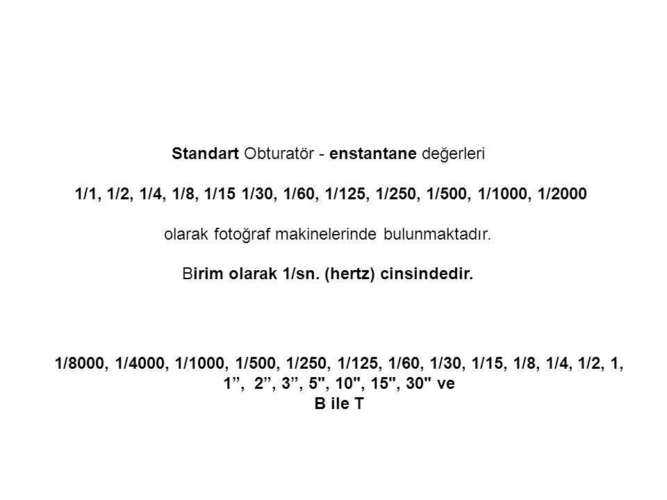 Standart Obturatör - enstantane değerleri 1/1, 1/2, 1/4, 1/8, 1/15 1/30, 1/60, 1/125, 1/250, 1/500, 1/1000, 1/2000 olarak fotoğraf makinelerinde bulun