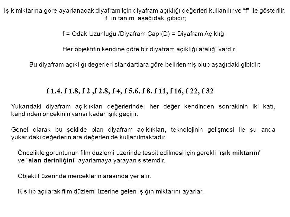 """Işık miktarına göre ayarlanacak diyafram için diyafram açıklığı değerleri kullanılır ve """"f"""" ile gösterilir. """"f"""" in tanımı aşağıdaki gibidir; f = Odak"""