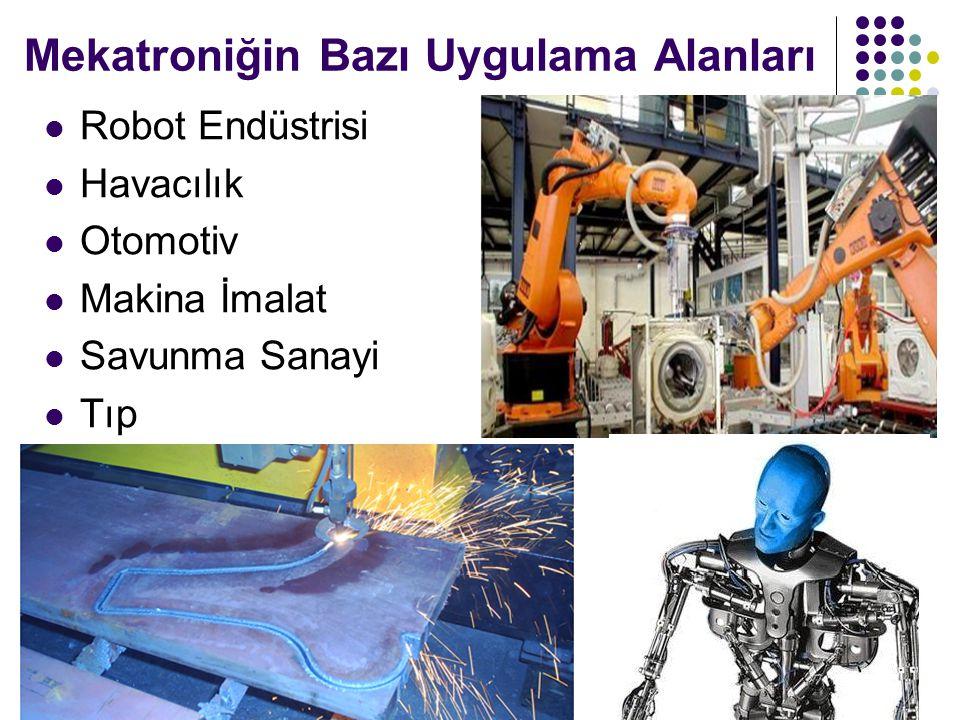 Mekatroniğin Bazı Uygulama Alanları Robot Endüstrisi Havacılık Otomotiv Makina İmalat Savunma Sanayi Tıp