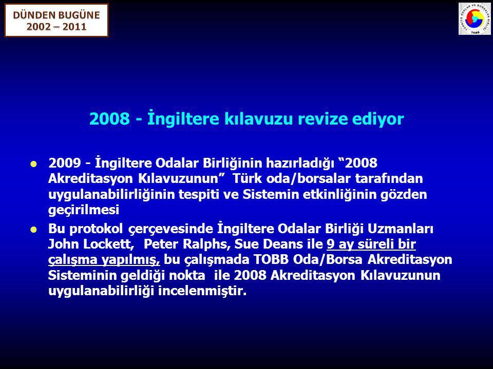 """2008 - İngiltere kılavuzu revize ediyor 2009 - İngiltere Odalar Birliğinin hazırladığı """"2008 Akreditasyon Kılavuzunun"""" Türk oda/borsalar tarafından uy"""