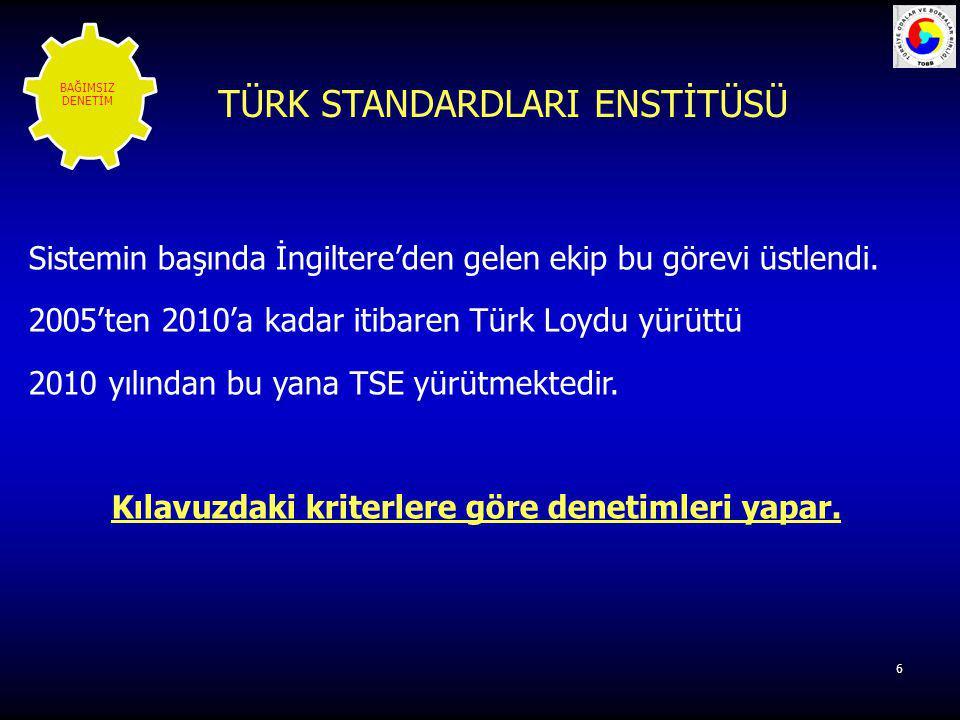 6 Sistemin başında İngiltere'den gelen ekip bu görevi üstlendi. 2005'ten 2010'a kadar itibaren Türk Loydu yürüttü 2010 yılından bu yana TSE yürütmekte