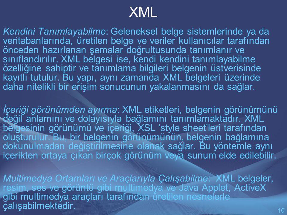 XML Kendini Tanımlayabilme: Geleneksel belge sistemlerinde ya da veritabanlarında, üretilen belge ve veriler kullanıcılar tarafından önceden hazırlanan şemalar doğrultusunda tanımlanır ve sınıflandırılır.