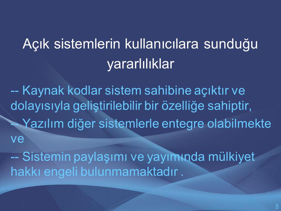 SONUÇ Bütün bu değerlendirmeler ışığında Türkiye'de kamu kurum ve kuruluşlarında mevcut ve/veya oluşturulacak belge sistemleri üzerinde yapılacak düzenlemeler şu ölçütler dikkate alınarak yapılmalıdır: -- Gerek belge sistemlerinin uygulamaya konduğu işletim sistemleri, gerek belge sistemlerinin kendisi ve gerekse sözkonusu sistem içinde kullanılan veri yapıları açık sistem mimarilere ve açık standartlara dönüştürülmelidir.