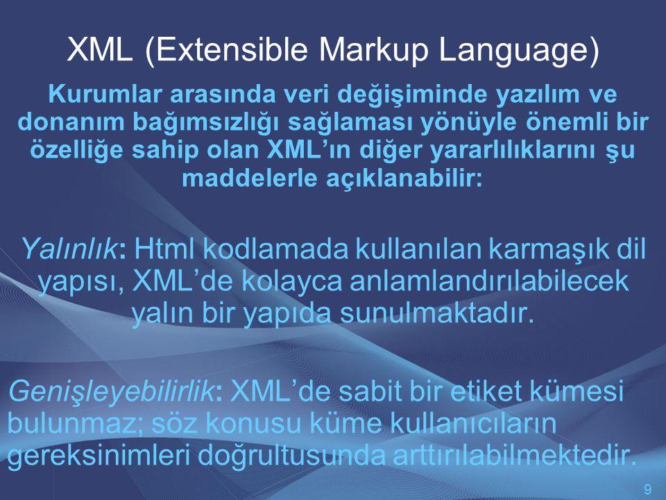 XML (Extensible Markup Language) Kurumlar arasında veri değişiminde yazılım ve donanım bağımsızlığı sağlaması yönüyle önemli bir özelliğe sahip olan XML'ın diğer yararlılıklarını şu maddelerle açıklanabilir: Yalınlık: Html kodlamada kullanılan karmaşık dil yapısı, XML'de kolayca anlamlandırılabilecek yalın bir yapıda sunulmaktadır.