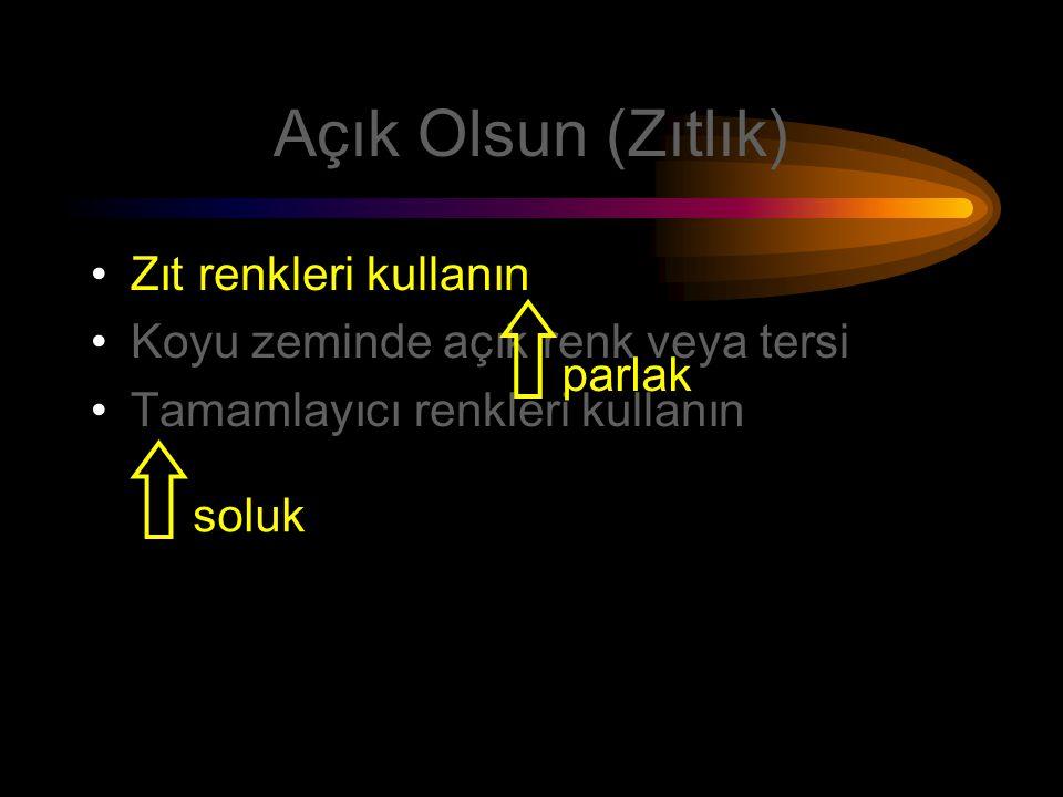 Açık Olsun (Renkler) Zıt renkleri kullanın Koyu zeminde açık renkler veya açık zemin üzerinde koyu renkler Zemin rengi mat (soluk) yazı rengi parlak (