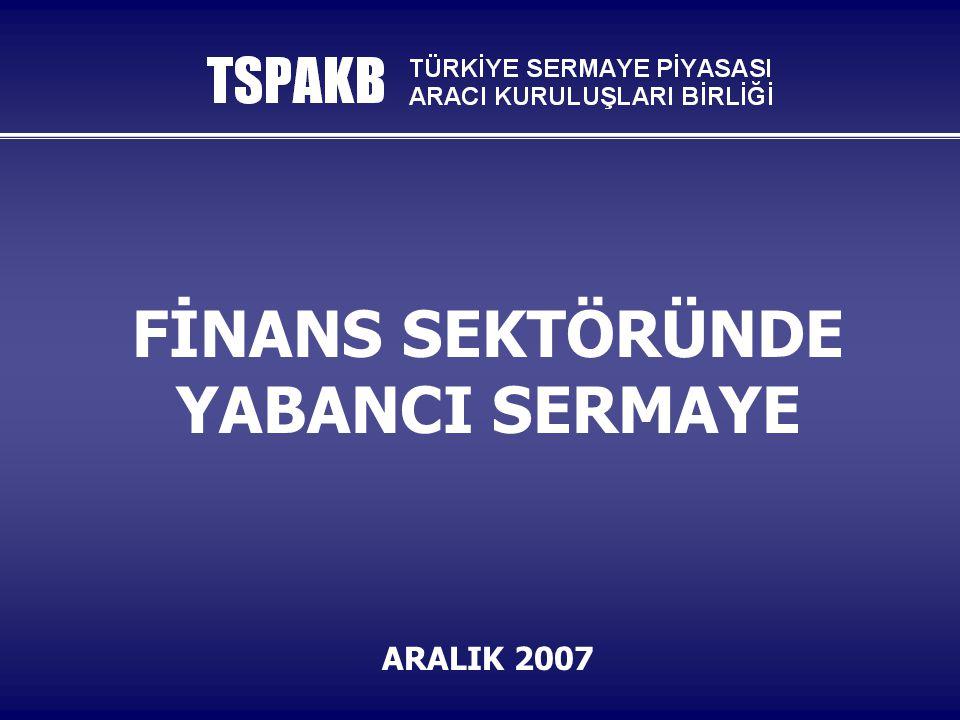 TSPAKB 12 BANKACILIKTA DOĞRUDAN YATIRIMLAR  Finans sektöründeki kurumlara doğrudan yatırımlar bankacılık sektörüyle başladı.