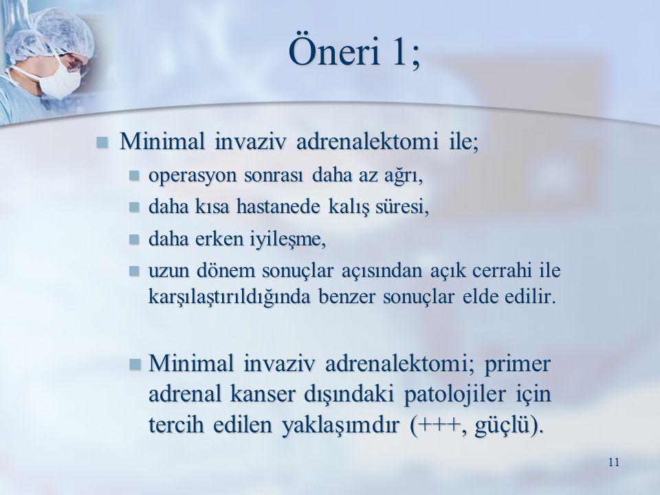 Öneri 1; Minimal invaziv adrenalektomi ile; Minimal invaziv adrenalektomi ile; operasyon sonrası daha az ağrı, operasyon sonrası daha az ağrı, daha kı