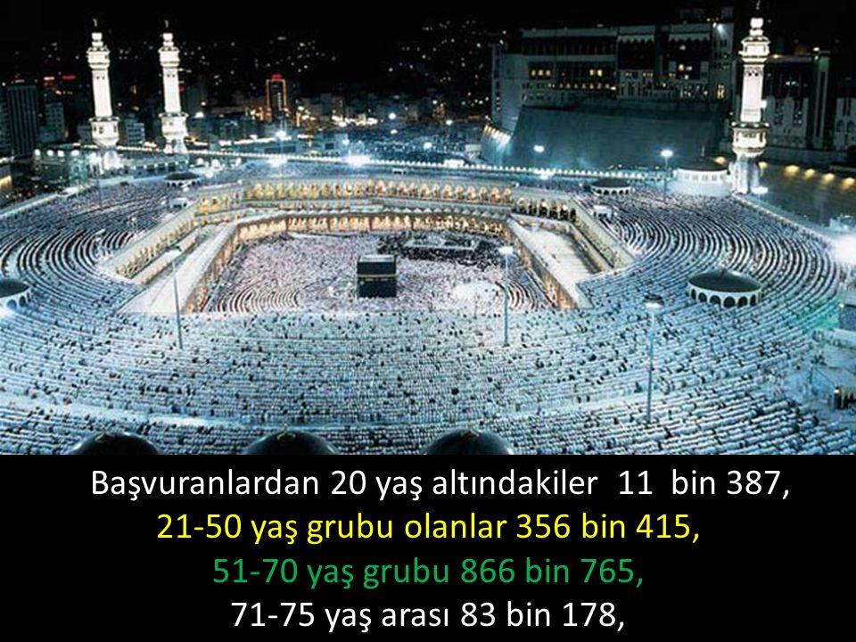 Başvuranlardan 20 yaş altındakiler 11 bin 387, 21-50 yaş grubu olanlar 356 bin 415, 51-70 yaş grubu 866 bin 765, 71-75 yaş arası 83 bin 178, 76-84 yaş