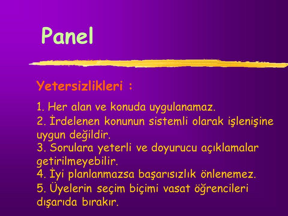 Panel Yetersizlikleri : 1. Her alan ve konuda uygulanamaz. 2. İrdelenen konunun sistemli olarak işlenişine uygun değildir. 3. Sorulara yeterli ve doyu