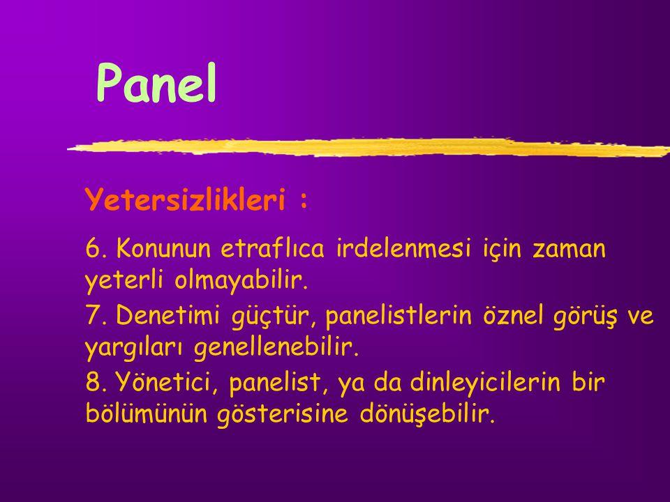 Panel Yetersizlikleri : 6. Konunun etraflıca irdelenmesi için zaman yeterli olmayabilir. 7. Denetimi güçtür, panelistlerin öznel görüş ve yargıları ge
