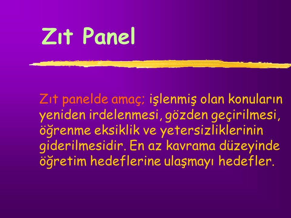 Zıt Panel Zıt panelde amaç; işlenmiş olan konuların yeniden irdelenmesi, gözden geçirilmesi, öğrenme eksiklik ve yetersizliklerinin giderilmesidir. En