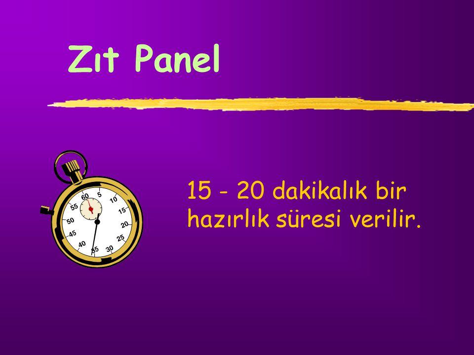 Zıt Panel 15 - 20 dakikalık bir hazırlık süresi verilir.