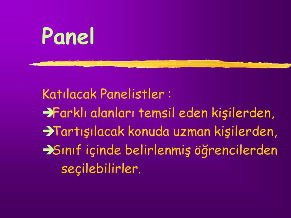 Panel Katılacak Panelistler : Çabuk düşünebilen, Yargılama yeteneği gelişmiş, Grup karşısında konuşma ve tartışma becerisine sahip, Belirlenen problem alanına ilişkin bilgi ve deneyim kazanmış kişilerden seçilmelidir    
